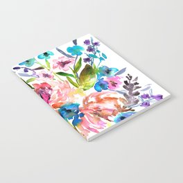 WATERCOLOUR PEONY AND ROSES Notebook