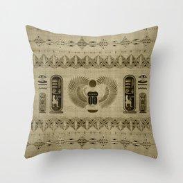 Egyptian Scarab Beetle Ornament Throw Pillow