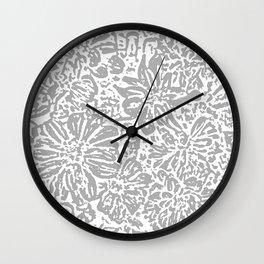 Marigold Lino Cut, Cloud Grey Wall Clock