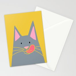 Cute Russian Blue Cat in Yellow Stationery Cards
