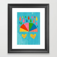 Umbrella Hearts Framed Art Print
