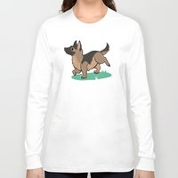 german shepherd Long Sleeve T-shirts featuring Chibi German Shepherd by Ashdoun