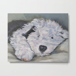OES Old English Sheepdog dog art portrait from an original painting by L.A.Shepard Metal Print