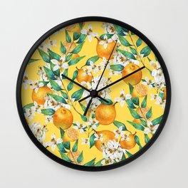 Lemon and lemon flowers blossom - YBG Wall Clock