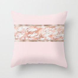 Strawberries and cream - rose gold marble Throw Pillow