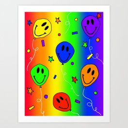 Rainbow Smiling Balloons with Confetti Art Print