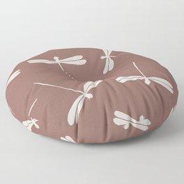 White Dragonflies against dark brown background.  Floor Pillow