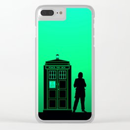 Tardis With The First Doctor Clear iPhone Case