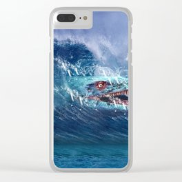 Mosasaurus attacks Surfer in a Wave Clear iPhone Case