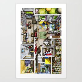 PAIN AND GLORY's apartment in watercolor Art Print