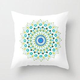 Dotty Mandala Green Throw Pillow