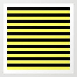 Stripes (Black & Yellow Pattern) Art Print
