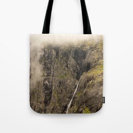 waterfall from the top in norway Tote Bag