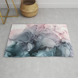 Blush and Payne's Grey Flowing Abstract Painting Rug