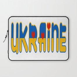 Ukraine Font with Ukranian Flag Laptop Sleeve