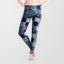 Jungle Friends Shades of Blue Cheater Quilt Leggings