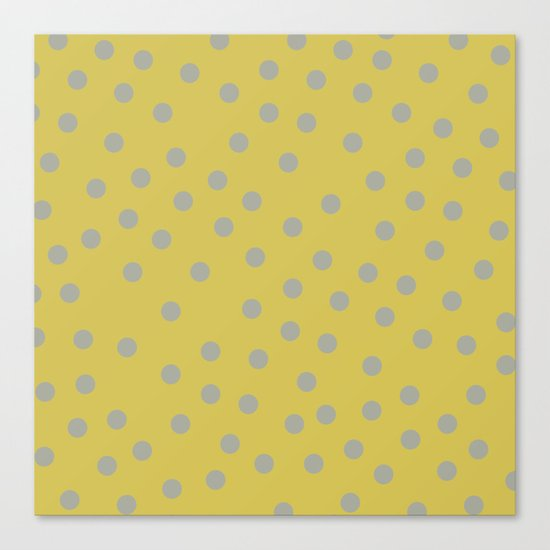 Simply Dots Retro Gray on Mod Yellow Canvas Print