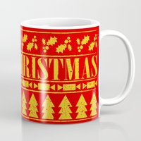 merry christmas Mugs featuring Merry Christmas by Fimbis