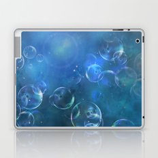 floating bubbles blue watercolor space background Laptop & iPad Skin