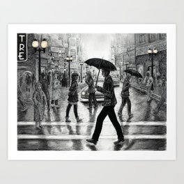 Untitled - Charcoal Drawing - people, figure drawing, rainy day, umbrella, silhouette, crowd, urban Art Print