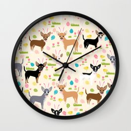 Chihuahua dog breed easter bunny spring easter eggs dog pattern gifts chihuahuas Wall Clock