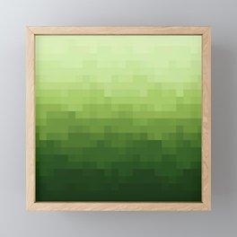 Gradient Pixel Green Framed Mini Art Print