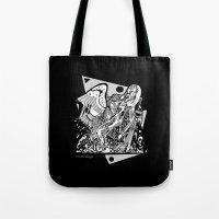 prometheus Tote Bags featuring Prometheus by Pat Pot Designs
