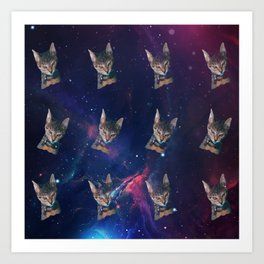 Space Angry Cat, Funny Cute Galaxy Cat Gift, Cat Lover, Dank Meme Space Kitty, Animal Lover, Kitten Art Print