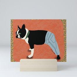 Boston Terrier in Pants Mini Art Print