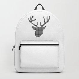 Plaid Deer Head: Grey Backpack