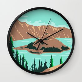 Crater Lake National Park in Klamath County Oregon United States WPA Poster Art Color Wall Clock