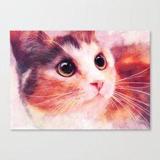 Innocent eyes (watercolor cat painting, art, aquarell) Canvas Print