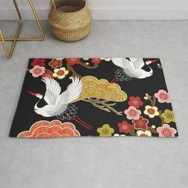 Japanese crane bird hand drawn illustration pattern on dark background.  Rug