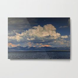 Billowing Clouds over Yellowstone Lake Metal Print