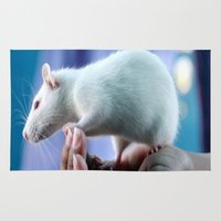 rat Area & Throw Rugs featuring White Rat  by Four Hands Art