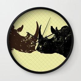 Two Bull Rhinos Wall Clock