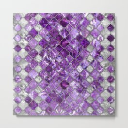 Quatrefoil Moroccan Pattern Amethyst and silver Metal Print
