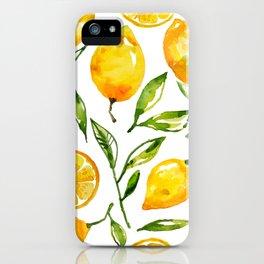 lemon watercolor iPhone Case