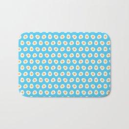 Crazy for fried eggs blue Bath Mat