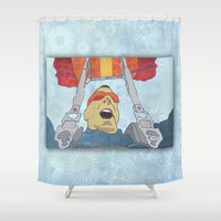 ski Shower Curtains featuring Ski dive by Aquamarine Studio