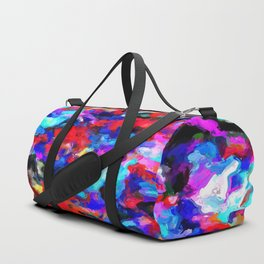 psychedelic splash painting abstract texture blue red pink black Duffle Bag