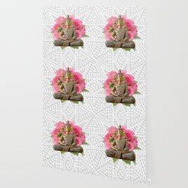 Buddha Rose Silver Mandala Wallpaper