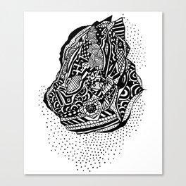 Hong Kong Dim Sum Wonton Doodle in BW Canvas Print