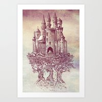 trees Art Prints featuring Castle in the Trees by Rachel Caldwell