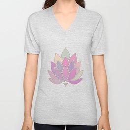 Lotus Flower Pastel Meditation Yoga Symbol Unisex V-Neck