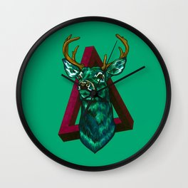 Green Stag Wall Clock