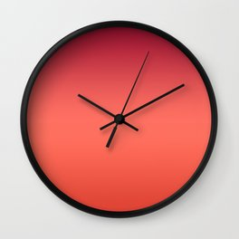 Living Coral Fiesta Jester Red Gradient Ombre Pattern Wall Clock