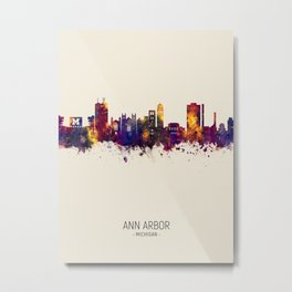 Ann Arbor Michigan Skyline Metal Print