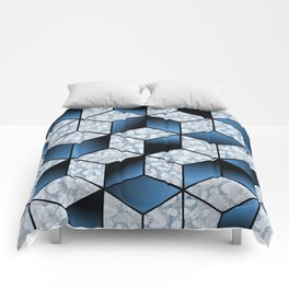Abstract Blue Cubic Effect Design Comforters