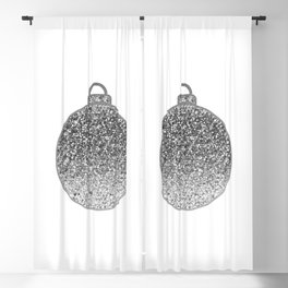 Silver Christmas bauble Blackout Curtain